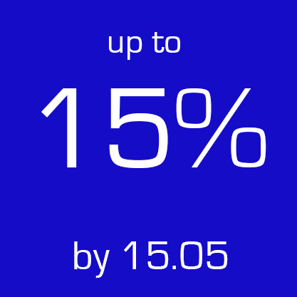 up to 15% by 15 may